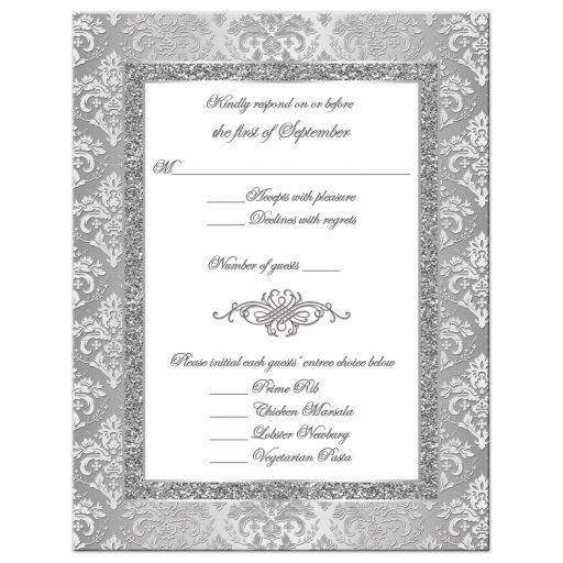 25th wedding anniversary rsvp card in silver and white damask with scroll