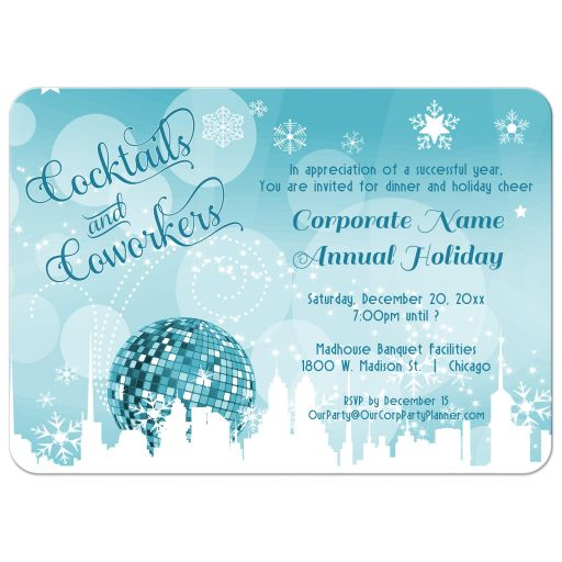 Trendy Teal Cocktails And Coworkers Holiday Party Invitations