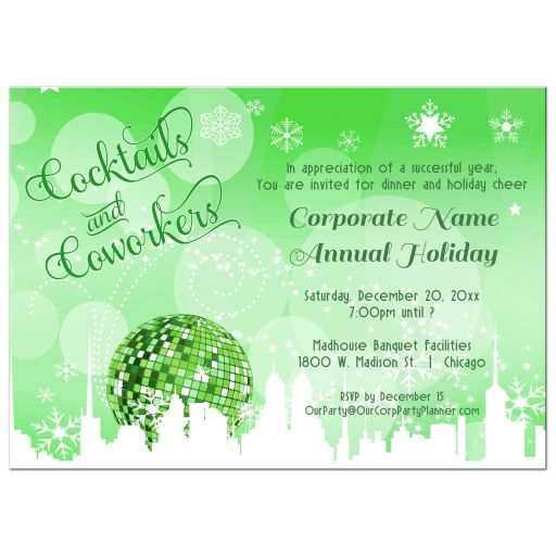Trendy Green Cocktails And Coworkers Holiday Party Invitations