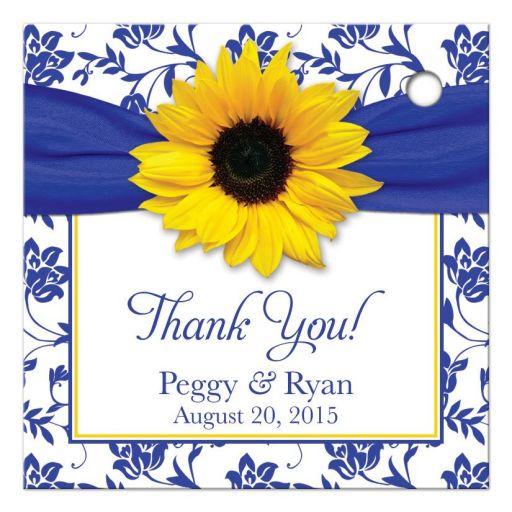 Sunflower royal blue damask personalized wedding favor tag back