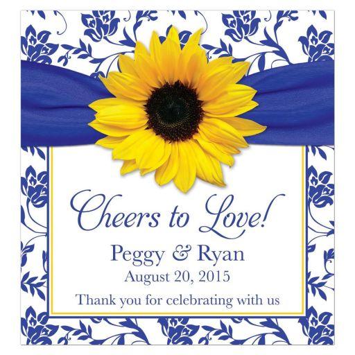 Sunflower royal blue damask personalized wedding wine lables