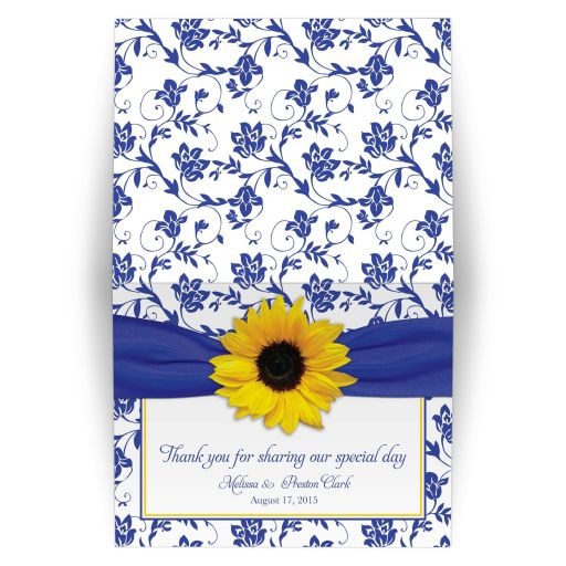 Sunflower, royal blue and white damask floral personalized wedding thank you card front