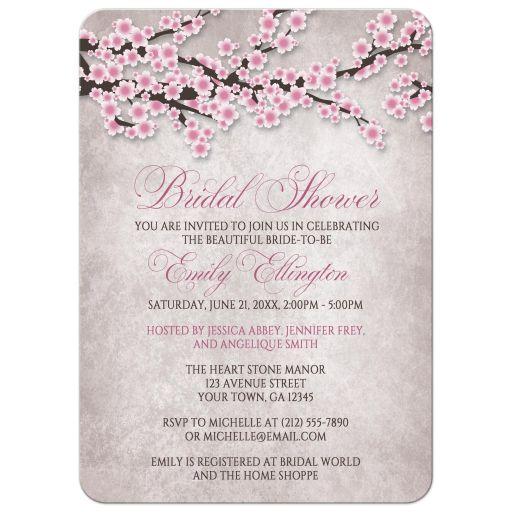 Bridal Shower Invitations - Rustic Pink Cherry Blossom