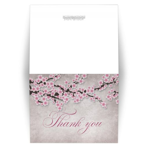 Thank You Cards - Rustic Pink Cherry Blossom