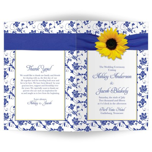 sunflower royal blue damask wedding program cover front back