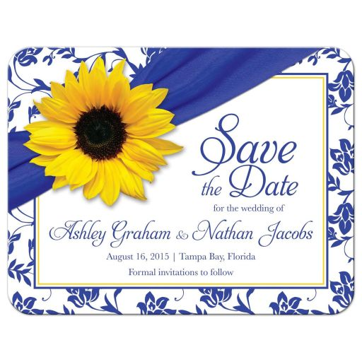 Yellow sunflower royal blue and white floral damask personalized wedding save the date invite front