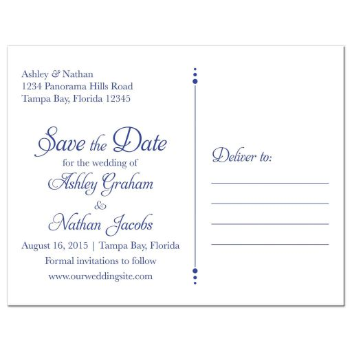 Sunflower royal blue and white floral damask personalized wedding save the date postcard back