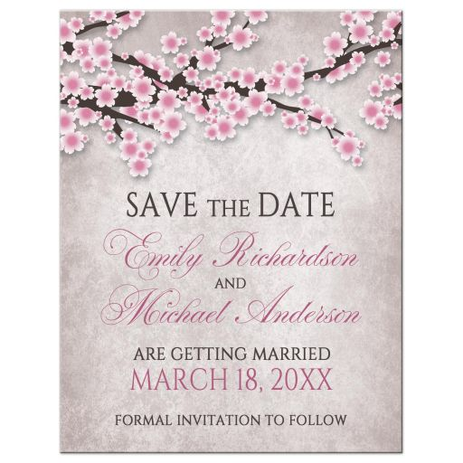 Save the Date Cards - Rustic Pink Cherry Blossom