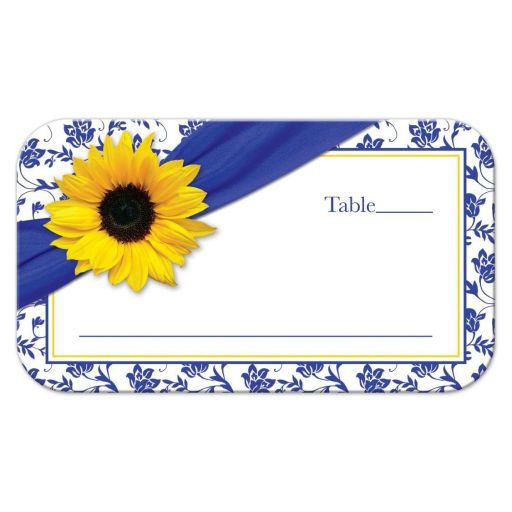 Sunflower royal blue and white floral damask and ribbon wedding place card front