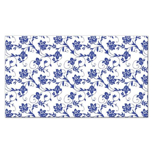 Sunflower royal blue and white floral damask and ribbon wedding place card back