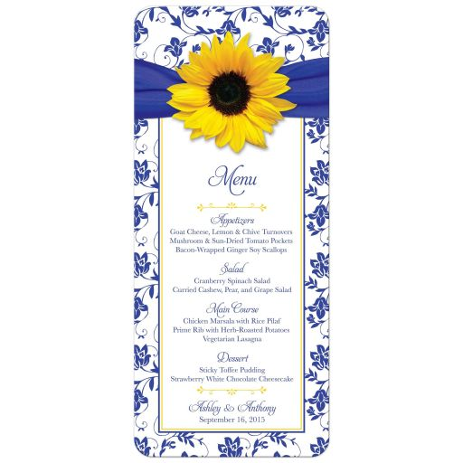 ​Yellow sunflower, royal blue and white damask floral personalized wedding reception menu front