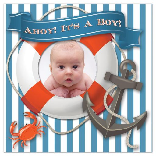 Boy Baby Shower invitation with photo and nautical theme