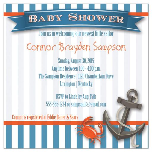 Nautical theme baby shower invite for a boy