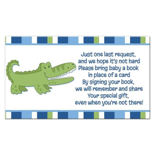 Alligator Blue and Green Striped Book Request Enclosure card
