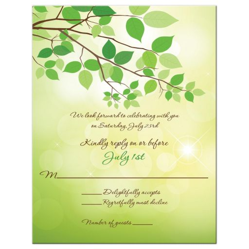 Wedding rsvp card with green leaves, tree branch and bark with heart and initials