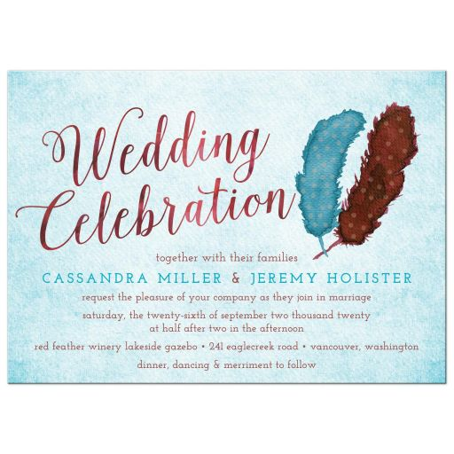 Painted Watercolor Feathers Marsala Blue Wedding Invitation