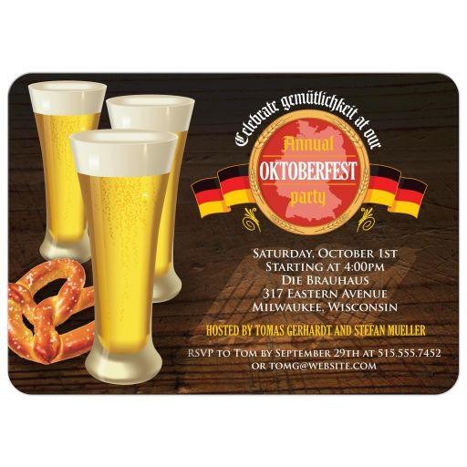 Party Invitation - Three Beers and Pretzel Oktoberfest