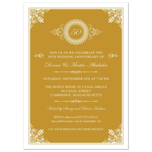 Wedding Anniversary Party Invitation - Gold 50th Ornate Medallion
