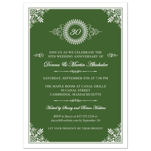 Wedding Anniversary Party Invitation - Green 30th Ornate Medallion