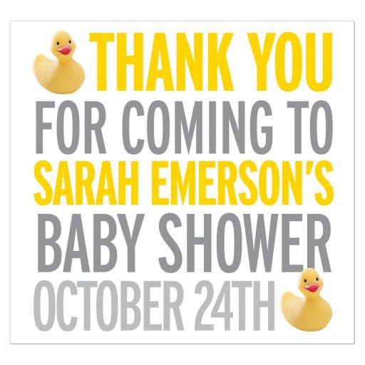 Beverage Label - Yellow Rubber Ducky Baby Shower Thank You