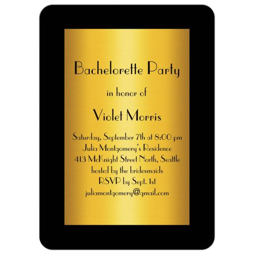 Gold Bachelorette Invitation