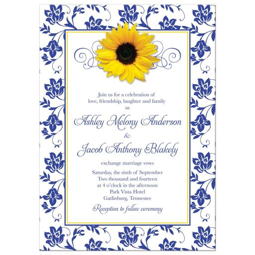 Yellow sunflower, white and royal blue damask floral and ribbon photo wedding invitation back