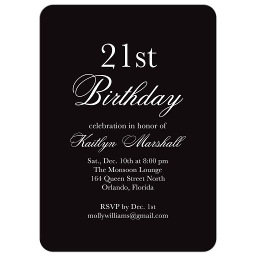 Black and White Birthday Invitation