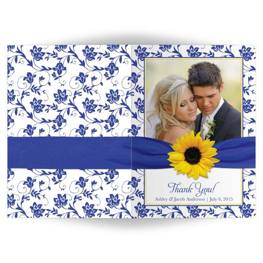 Sunflower, royal blue and white damask floral wedding thank you photo card