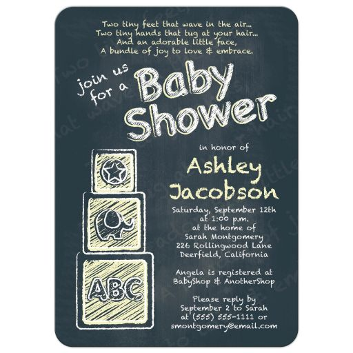 ABC alphabet block chalkboard yellow baby shower invitation front
