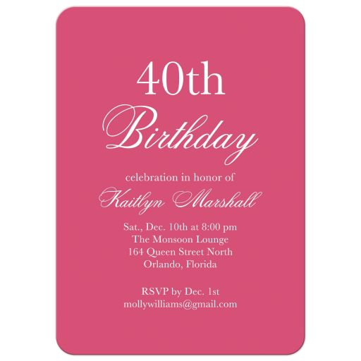 "Fuchsia Birthday Party Invitation saying ""Time to Drink Champagne and Dance on the Table"""