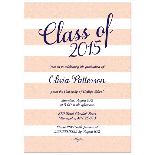 Graduation announcement blush pink glitter stripes blush pink glitter class of 2015 graduation announcement party invitation filmwisefo