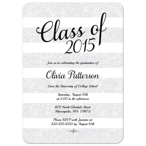 Gray, black and white glitter stripes graduation party invitation
