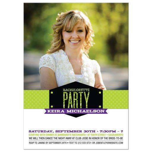 Bachelorette Hens Party Invitation - Modern Glitter Look Photo Band Green Purple