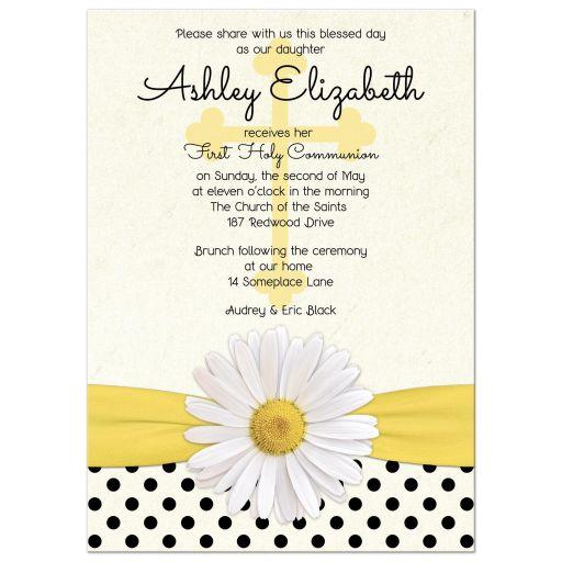 White shasta daisy, polka dots and ribbon Catholic First Holy Communion Invitation front