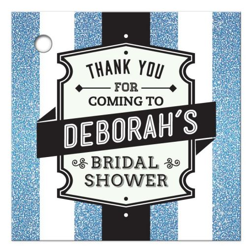 Bridal Shower Favor Tag - Retro Blue Glitter Stripes Wedding