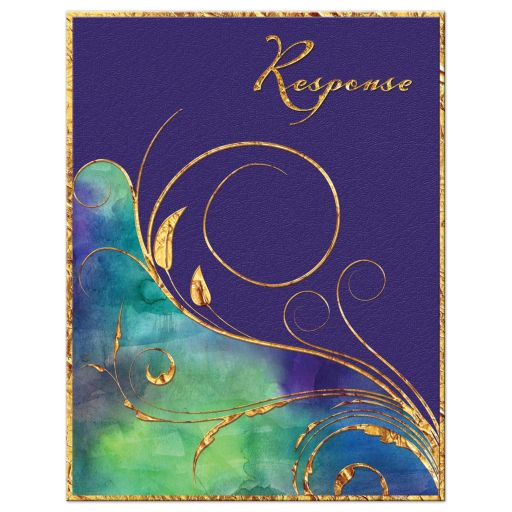 Purple, green and gold watercolor wedding rsvp card with gold foil and flourish