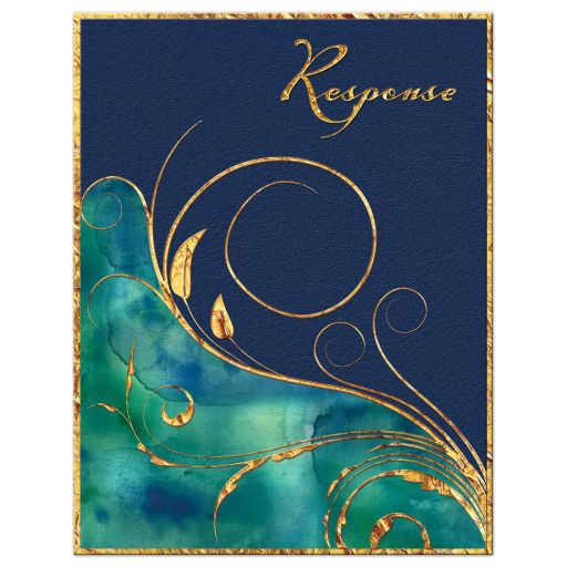 Peacock blue, green and gold watercolor wedding rsvp card with gold foil and flourish