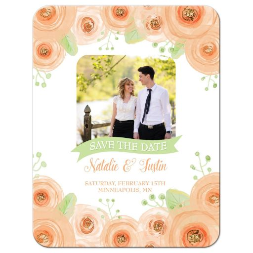 Peach and green watercolor flowers save the date photo card