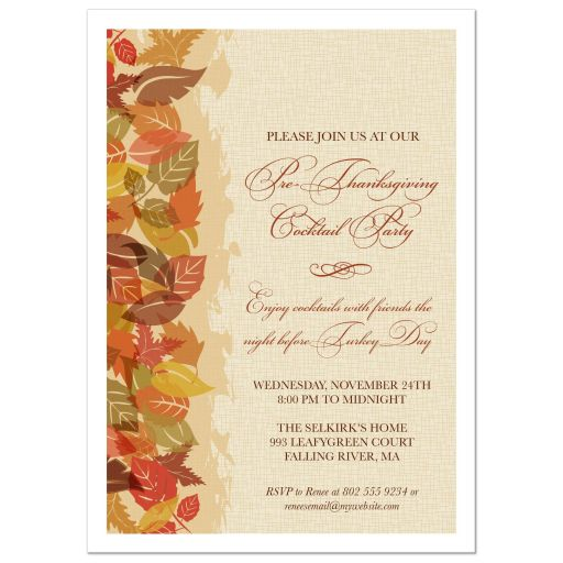 Thanksgiving Invitation - Autumn Leaves Edge Party
