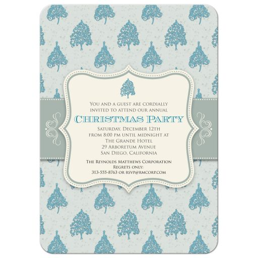 Holiday Party Invitation - Blue Christmas Tree Pattern