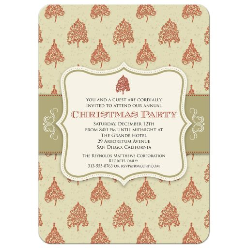 Holiday Party Invitation - Red Christmas Tree Pattern