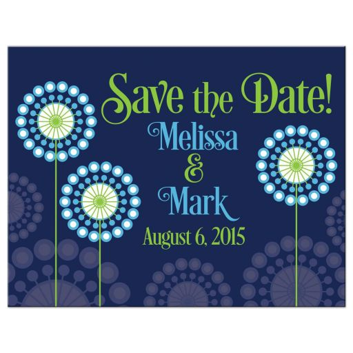 ​Blue and green abstract dandelion flower save the date postcard front