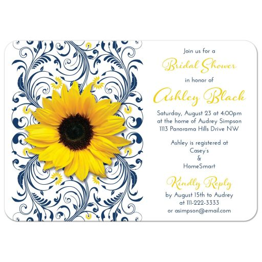 Navy blue and white floral, yellow sunflower elegant bridal shower invitation