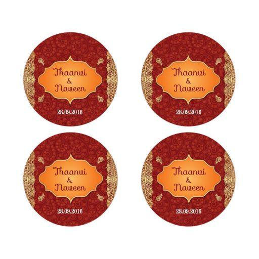 Wedding Stickers - Crimson Indian Paisley Gilded Edge