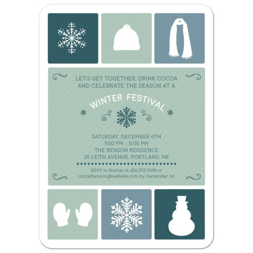 Holiday Party Invitation - Winter Simple Icons