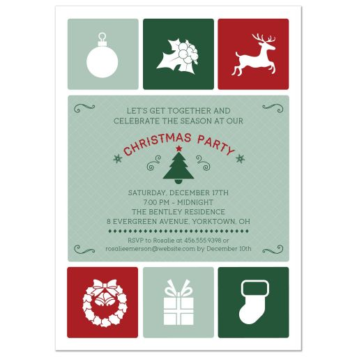 Holiday Party Invitation - Christmas Simple Icons