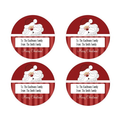 santa claus christmas gift tag round favor sticker