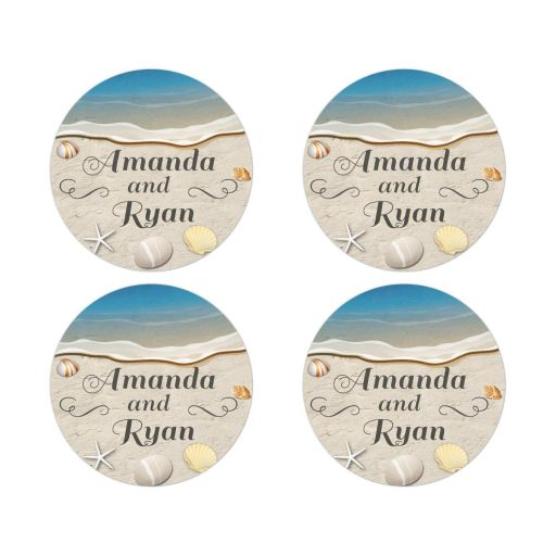 Round Stickers - Waters Edge Shells and Beach Sand Wedding