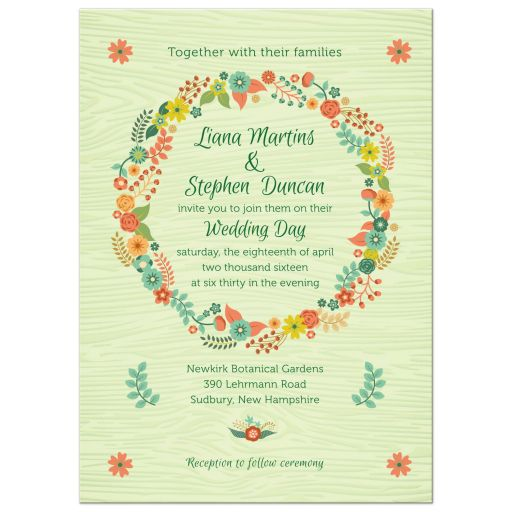 Wedding Invitation Rustic Green Wood Grain Floral Wreath