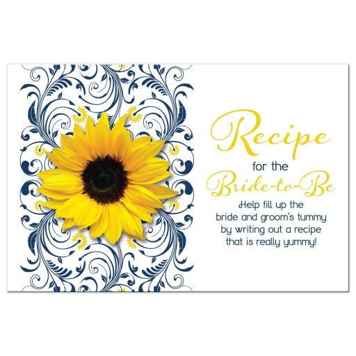 Navy blue and white floral, yellow sunflower bridal shower recipe card front